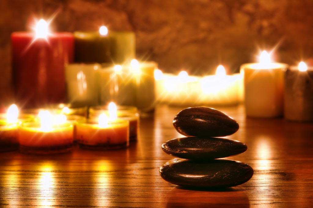 candles and zen stones